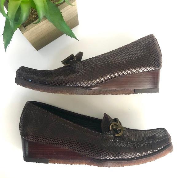 Stuart Weitzman Brown Patent Wedge Loafers 9